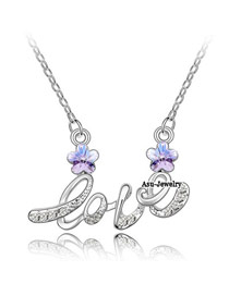 Ruffled Violet Purple Implied Meaning Brilliant Plum Flower Crystal Crystal Necklaces