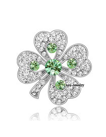 Adjustable olive Green Brooch Alloy Crystal Brooches