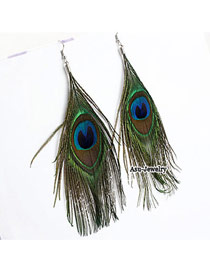 Bohemia Silver Color+blue Bead& Feather Shape Pendant Decorated Simple Earring