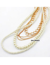 Elegant White Pearls&diamond Decorated Double Layer Necklace