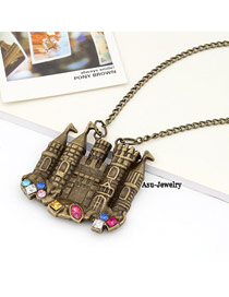 Mens Bronze Venice Castle Design Alloy Korean Necklaces