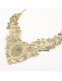 Exquisite Gold Color Diamond Decorated Waterdrop Shape Pendant Design Alloy Bib Necklaces