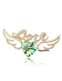 Quicksilve olive Green Brooch Alloy Crystal Brooches