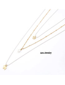 Elastic Gold Color Three Layer Bow Tie Dog Pendant Alloy Korean Necklaces