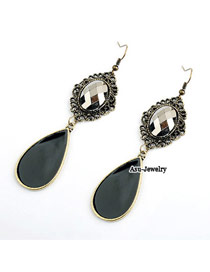 Fashion Dark Blue Rivet Decorated Feather Tassel Pendant Earring