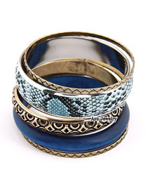 Stainless Sapphire Blue Multilayer Wood Alloy Fashion Bangles