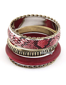 Korean vintage fashion carve snake lines multilayer wood bracelet bangle