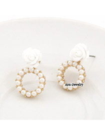 Homecoming White Simple Decorated With Rose Design Alloy Stud Earrings