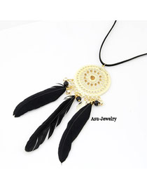 Fashion Silver Color Ivory Pendant Decorated Long Necklace