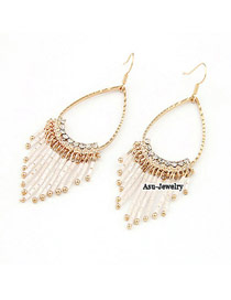 Denim White Beaded Curtain Shape Alloy Korean Earrings