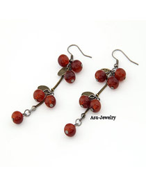 Vintage Plum Red Personality Tassels Charm Design Alloy Korean Earrings