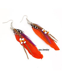 Floral Red Decorated With Bead Alloy Korean Earrings