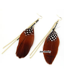 Handmade Coffee Tassels Charm Design Alloy Korean Earrings
