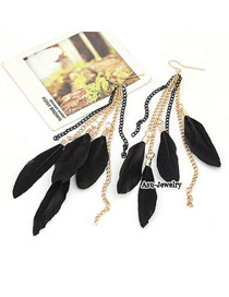Fashion Plum Red Long Tassel Decorated Simple Earrings