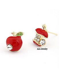 Sweet Red Diamond Decorated Square Shape Earring