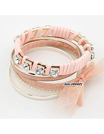 Extreme Pink Bow Tie Alloy Fashion Bangles