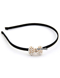 Casual Black Beads Decorated Double Layer Design Rubber Band Hair Band Hair Hoop