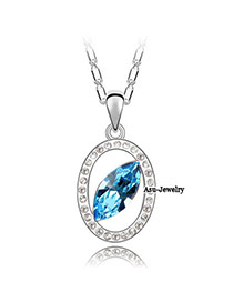 Cocktail Navy Blue Diamond Decorated Waterdrop Pendant Design Alloy Crystal Necklaces