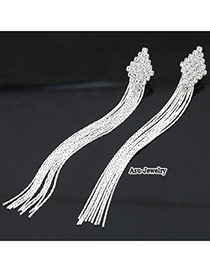Statement Silver Color Rhombus Shape Decorated With  Long Tassels Alloy Stud Earrings