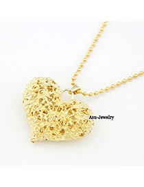 Nameplate Gold Color Hollow Out Heart Alloy Korean Necklaces