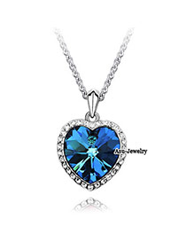Temperamental Blue Diamond Decorated Round Shape Design Alloy Crystal Necklaces