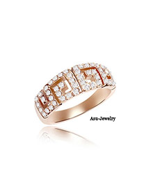 Religious White & Rose Gold Diamond Decorated Eight-shape Design Zircon Crystal Rings