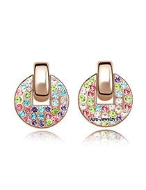 Cubic Rose gold +Colour Multicolour Earrings Alloy Crystal Earrings