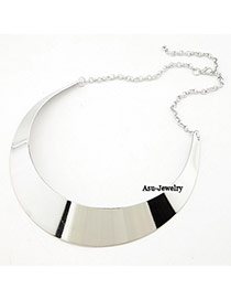 Attractive Silver Color Shiny Side Charm Design Alloy Korean Necklaces
