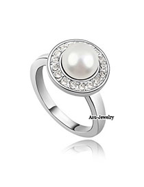 Fashion White+rose Gold Round Shape Diamond Decorated Hollow Out Design Ring