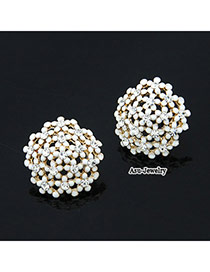 Huge White Sweet Flower Decorated With Cz Diamond Alloy Stud Earrings