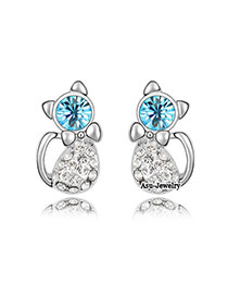 Butterfly Black Diamond Decorated Simple Design Alloy Crystal Earrings