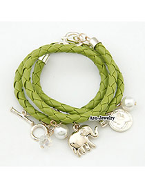 Pewter Green Elephant Pendant Braided Rope Korean Fashion Bracelet