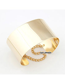 Fashion Rose Gold Round Shape Diamond Decorated Simple Pure Color Bracelet