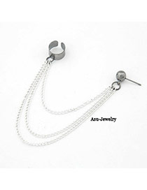 Elegant Silver Color Pearls Decorated Hollow Out Asymmetric Design Simple Earrings