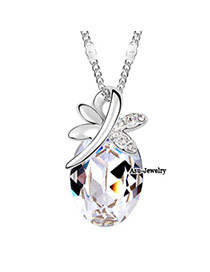 Bespoke White Color Butterfly Dancing Crystal Crystal Necklaces