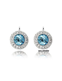 Printed sea blue Blue Earrings Alloy Crystal Earrings