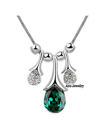 Mini Green Water Drop Design Crystal Crystal Necklaces