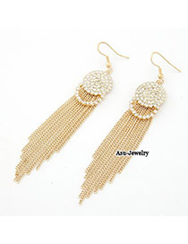 Oversized Gold Color Length Tassels Charm Design