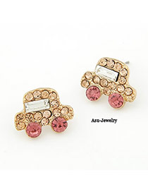 Bulk Champagne Champagne Car Shape Decorated With Cz Diamond Alloy Stud Earrings