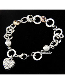 Shopping Silver Color Heart Shape Decorated With Cz Diamond Alloy Fashion Bracelets