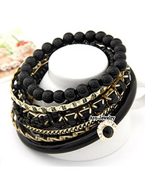Elegant Black Pure Color Decorated Opening Brecelet