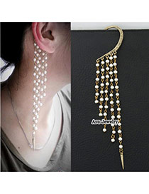 Tapered White Diamond Decorated Simple Design Cuprum Korean Earrings