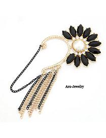 Vera Black Flower Tassels  Design Alloy Korean Earrings