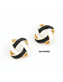 Fashion Black Semicircle Shape Decorated Earrings