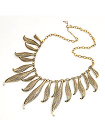 Wishbone Gold Color Carve Leaf Pendeant Alloy Bib Necklaces