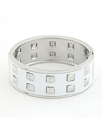 Denim White Row Rivet  Fashion Bangles