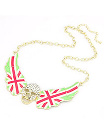 Fitness Plum Red National Flag Wing Shape Alloy Bib Necklaces