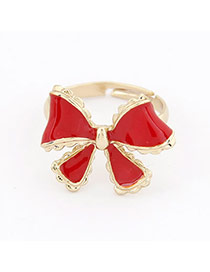 Autism Red Bow Alloy Korean Rings