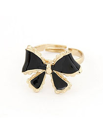 Korean sweet fashion bow tie charm opening rings (Black)