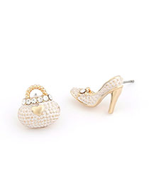 Lovely White Diamond Decorated Bowknot Shape Design  Alloy Stud Earrings